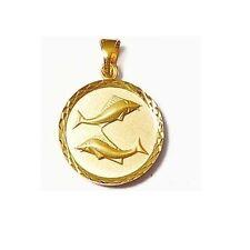Pendentif Médaille Zodiaque POISSON en Plaqué OR Neuf