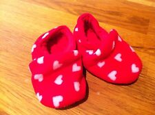 Girls Red Slippers (with soft rubber grip) Red (with hearts) 0-6 months *NEW*