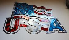 "USA Flag Metal Wall Art 15 1/2"" x 15"" Red White & Blue"