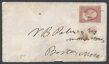 US 1850s Sc 10 TYPE I IMPERF PEN CANCEL TO BOSTON