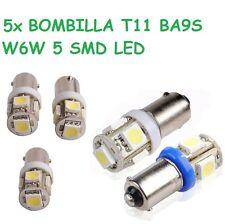 5x BOMBILLA T11 BA9S W6W H6W 5 SMD LED COCHE MOTO POSICION INTERIOR MATRICULA