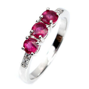 Round Red Ruby 4mm Cz 14K White Gold Plate 925 Sterling Silver Ring Size 7