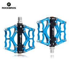 "RockBros Mountain MTB Bike Pedals Aluminum Alloy Sealed Bearing 9/16"" Blue"