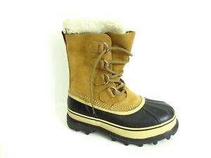 Sorel Women's Caribou Waterproof Boots Buff NL1005-280 Size 8 Beige/Black [A36]