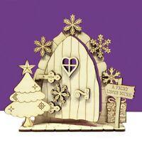 Christmas Opening Fairy Door 3D Snowflake Tree Wooden House Elf Plywood  OCFD3