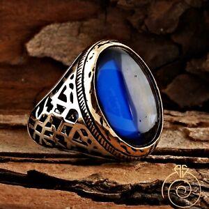 Unique Men Sapphire Vintage Rings For Men Authentic Silver Blue Stone Mens Ring