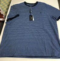 Polo Ralph Lauren Men's SZ XL Shirt Button Henley Featherweight Mesh Blue stripe