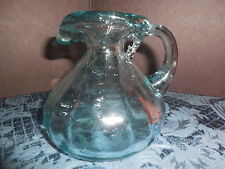 VINTAGE SMALL ROUND BOTTOM BLUE TINT OIL/OR VINEGAR PITCHER MADE IN MEXICO EUC