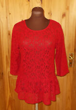 NEXT red floral lace 3/4 sleeve evening party tunic top peplum frill BNWT 12 40