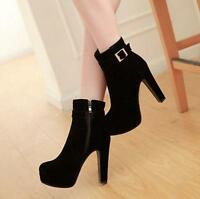 Women's Block High Heel Shoes Faux Suede Buckle Platform Ankle Boots Plus Size