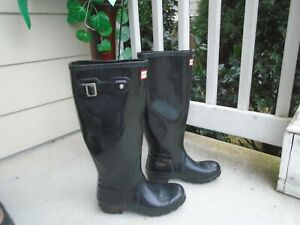 Hunter Classic Black Rubber Water Proof Buckle Tall Rain Boots womens sz 7