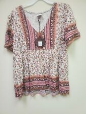 New!! Knox Rose Women's Blouse Top Shirt Boho Peasant Ivory Multicolor Floral