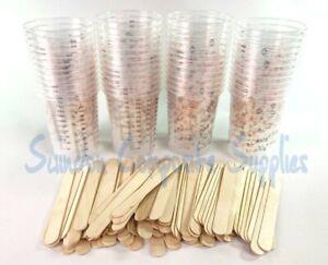 Resin  Mixing cups /  Paint Mixing kit  , 50  pots cups 100 wood mixing sticks,