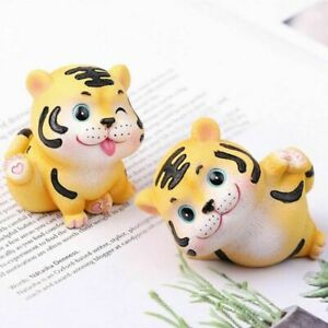 Cartoon Home Accessories Tiger Car Miniature Resin Animal Figurines For 2021