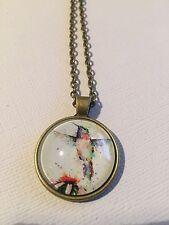 Vintage Pieces - Bronze Necklace Glass Cameo - Hummingbird