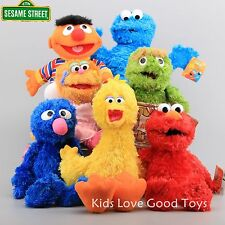 7pcs Sesame Street Plush Elmo Zoe Ernie Oscar Cookie Grover Bird Hand Puppet New