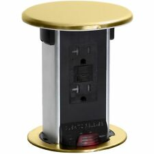 Lew Electric PUR20-B Waterproof Kitchen Pop Up 20A GFCI Outlet, Brass