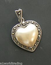 Sterling Silver Imitation Pearl Heart Charm Pendant