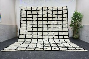 "Moroccan Handmade Beni Ourain Rug 8'3""x9'8"" Berber Checked White Black Wool Rug"