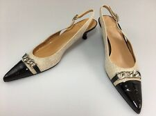 Stuart Weitzman Slingback Pumps Size 7.5 N Linen Black Leather Croc Wear To Work
