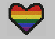 "Gay pride heart embroidered Patch 4"" x 4"" sew on"