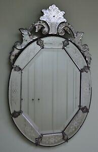 Impressive Late 19th Century Venetian Oval Glass Hall Side Table Bedroom Mirror