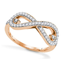 10K Rose Gold Diamond Infinity Ring .35ct Diamond Band Symbol of Forever Love