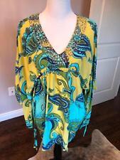 NWOT DASLU Brazil Tunic Silk Paisley Print Yellow Turquoise Hand Beading SZ 40/8