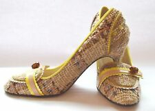 Boucle Fabric w/ Leather Trim High Heel Pumps - Size 7 (37) M Italy Yellow