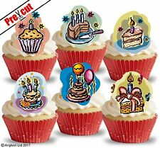 PRE-CUT BIRTHDAY CAKES I. EDIBLE WAFER PAPER CUP CAKE TOPPERS PARTY DECORATIONS