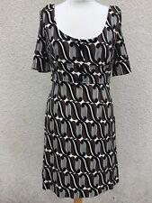 Mini vestido Karen Millen Negro Mod Retro impresión elegante Diseñador Sexy RARE 16 L