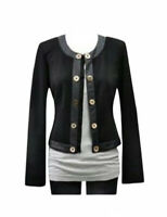 CAbi Women's Size Medium Long Sleeve Black Gold Buttons Pointe Knit Blazer