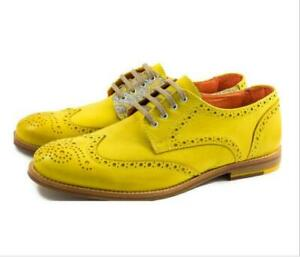 Men Vogue British Brogue Lace Up Formal Classic Shoes Plus Size Round Toe Floral