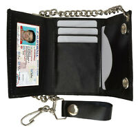 Black Men's Genuine Leather Biker's Metal Chain Wallet Trucker Motorcyclist