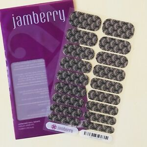 Jamberry Nail Wraps Victorian Lace RETIRED FULL SHEET Black Beige Manicure Style