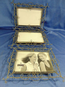 """Triple hanging picture frames gray metal wire photo size 6"""" x 4"""" length 19"""" art"""