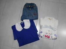 Lotto stock bambina 6/8 a maglia hello kitty jeans original marines grembiule