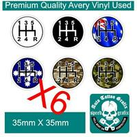 6 X GEAR SHIFT KNOB H PATTERN STICKER DECAL Manual Gearbox Transmission Stickers