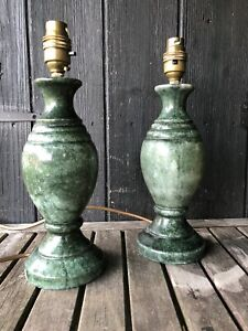 Rare Pair of Vintage Green Alabaster Vatican Cylinder Table Lamp Light 70s 80s