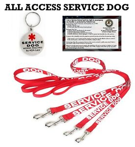 ALL ACCESS Service Dog Canine Leash Vest Harness Adjustable Reflective +TAG CARD