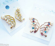 Clip On Diamante Earrings (2 Pairs) 2 x Non-Pierced Imitation Pearl Butterfly