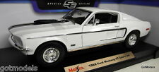 Maisto 1/18 Scale 46629 1968 Ford Mustang GT Cobra jet white Diecast model Car