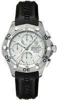 TAG HEUER AQUARACER CAF2011.FT8011 AUTO CHRONO DAY DATE RUBBER SILVER WATCH