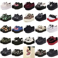 WOMENS LADIES LACE UP PUNK GOTH STUD DOUBLE PLATFORM FLAT CREEPER SHOES Hot new