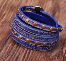 HUMANITY 5 Wraps Distressed&Aged Genuine Leather Bracelet INSPIRING PHRASES Blue
