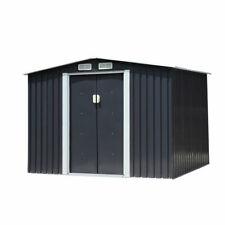 6 x 8 Ft Storage Shed Kit Metal Garden Sliding Doors Steel Outdoor Backyard Gray
