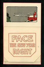 Novelty Add-On vintage fold out postcard New Years w/ comic cartoon views inside