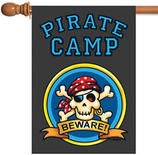 Toland Pirate Camp 28 x 40 Skull Crossbones Eye Patch Beware House Flag