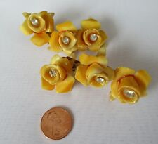 Vintage Cascading Yellow Roses Brilliant Rhinestone Centers Celluloid Earrings