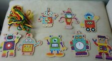 Melissa and Doug Wooden Lace And Trace Robots - 8 Cards with laces